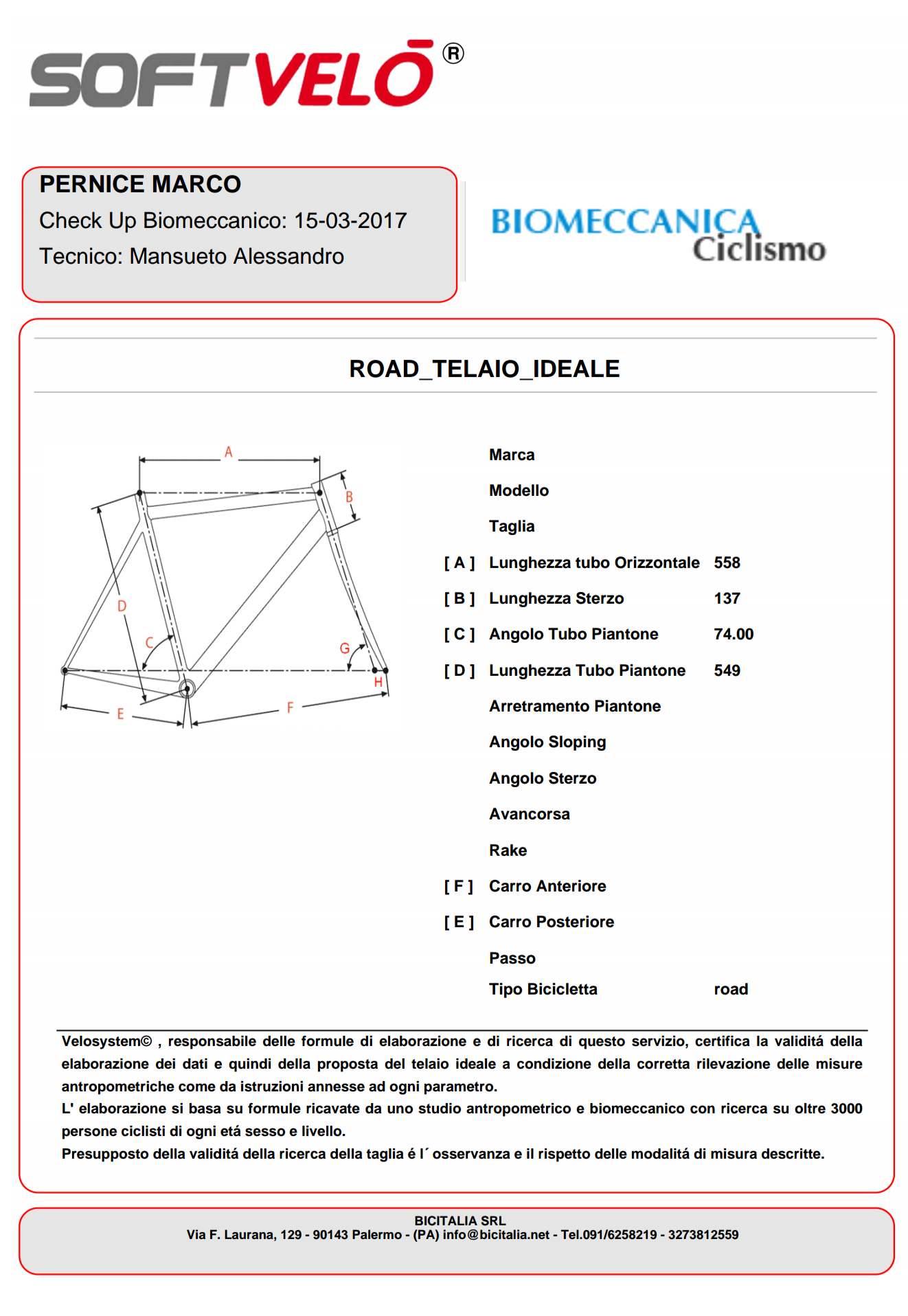 Valutazione biomeccanica Marco Pernice
