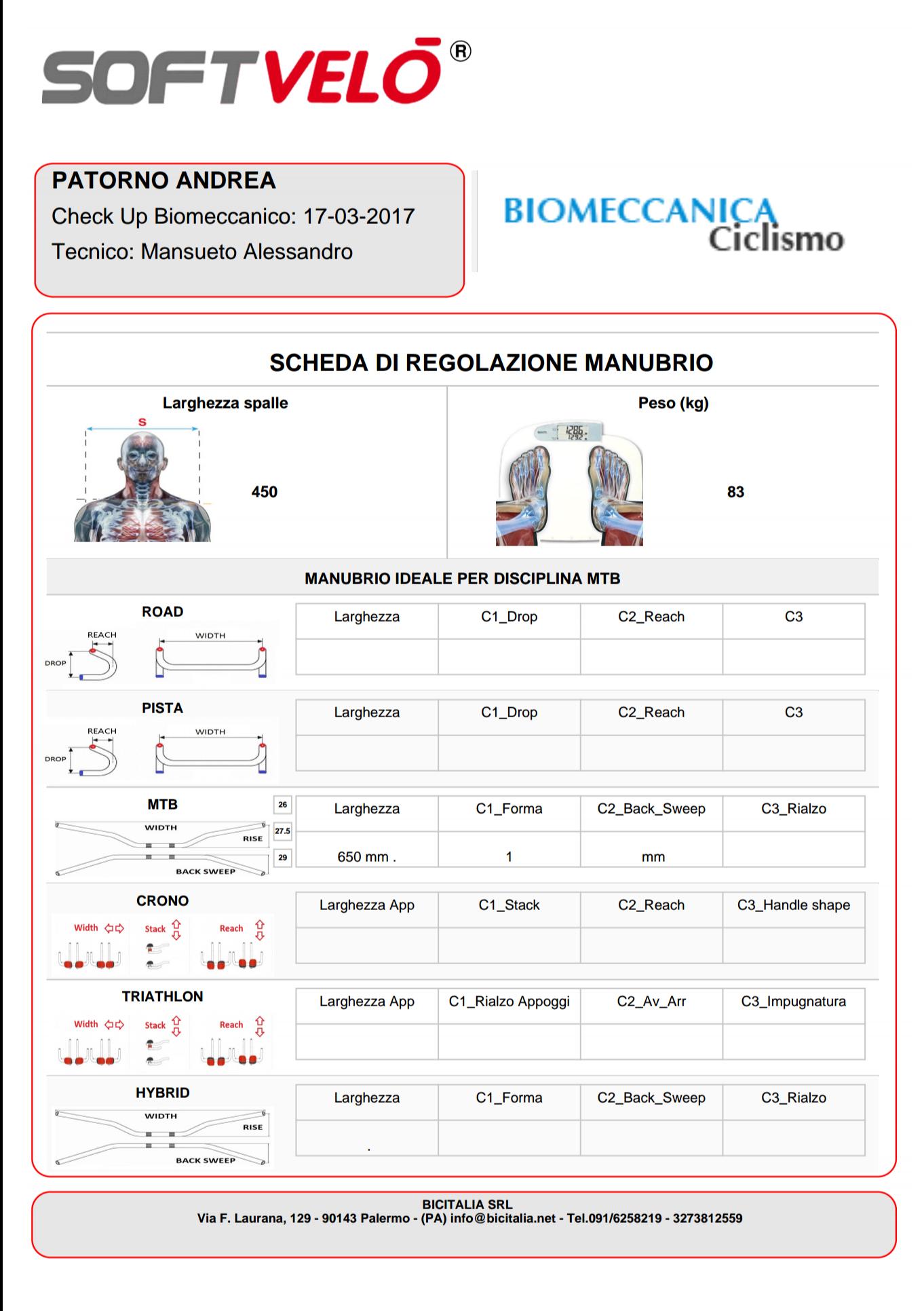 Valutazione biomeccanica ad Andrea Patorno