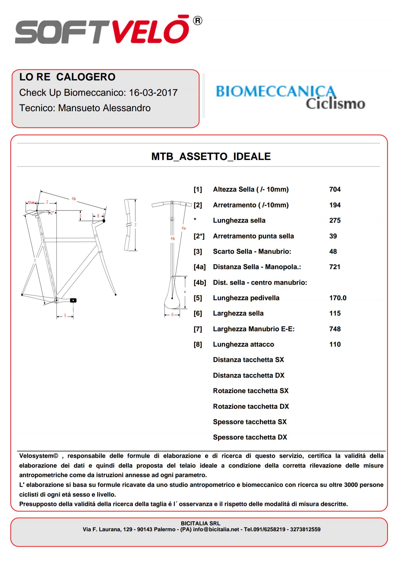 Valutazione biomeccanica biker Calogero Lo Re